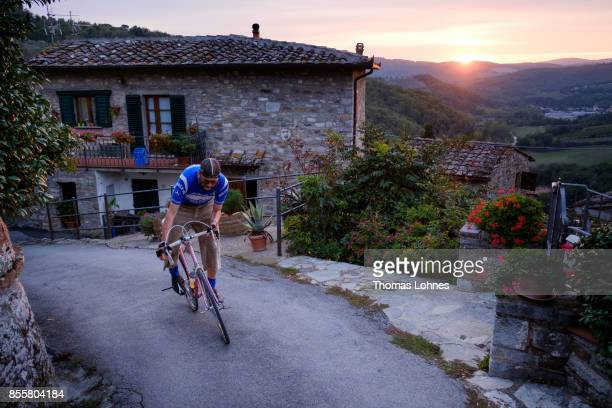 A vintage bicylcle enthusiast rides in preparation of the 21st edition of the 'L'Eroica of Gaiole in Chianti' festival on September 29 2017 near...