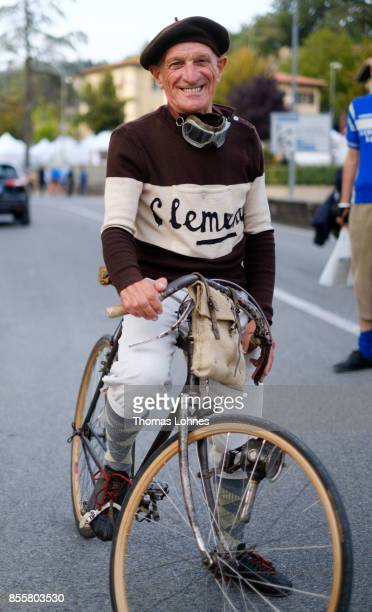 A vintage bicylcles enthusiast pictured with his historic bike during the 21st edition of the 'L'Eroica of Gaiole in Chianti' festival on September...