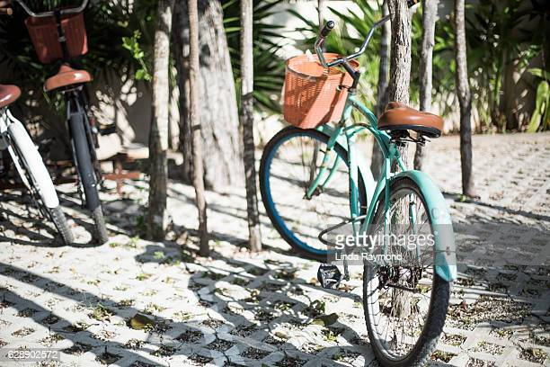 vintage bike in tulum, mexico - tulum mexico stock photos and pictures
