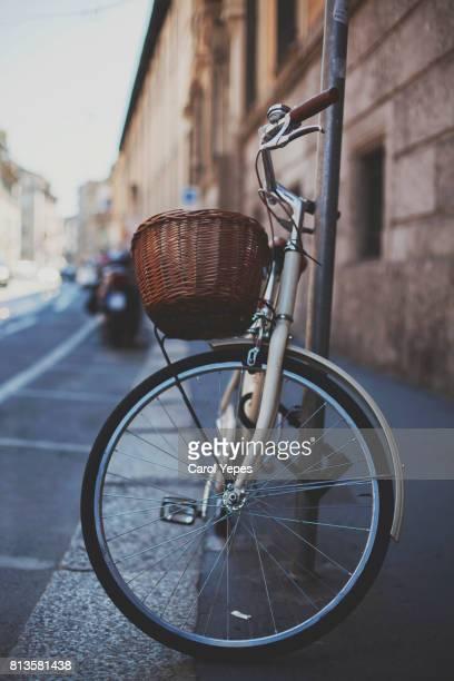 vintage bike parked on street