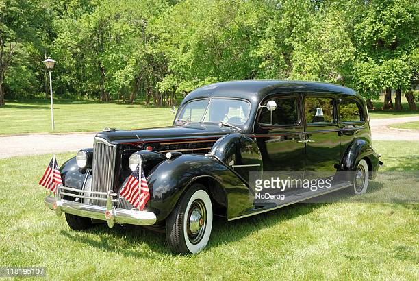 vintage black hearse - hearse stock pictures, royalty-free photos & images