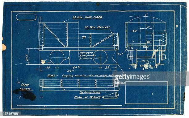 vintage blueprint - carriage stock pictures, royalty-free photos & images