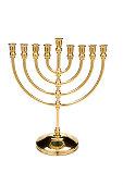 Vintage brass menorah candle holder