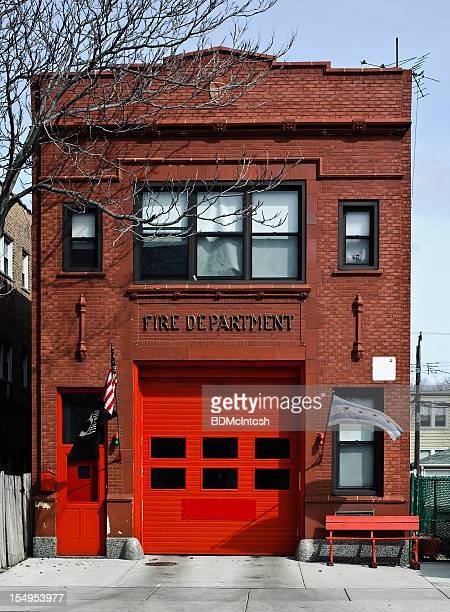 vintage brick fire station - fire station stock photos and pictures
