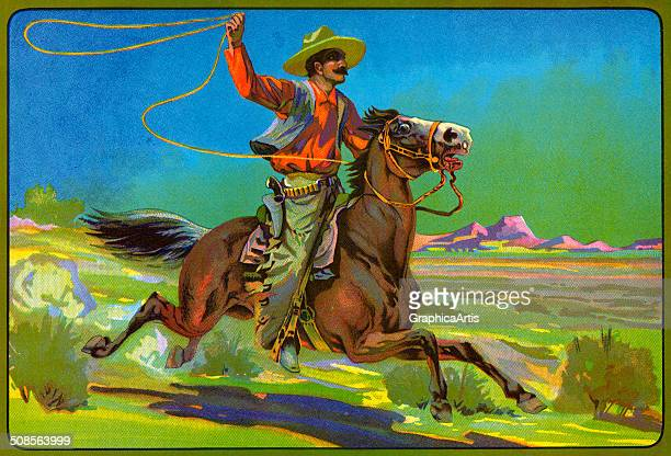 Vintage 'Bronco Buster' fruit crate label with a bronco buster on horseback with a lasso color lithograph c 1920