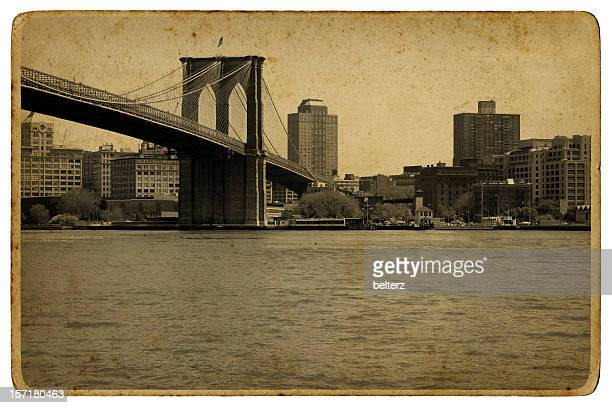 vintage brooklyn bridge - postcard stock pictures, royalty-free photos & images