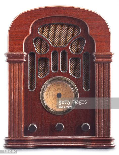 Vintage brown radio with dial and speakers built in