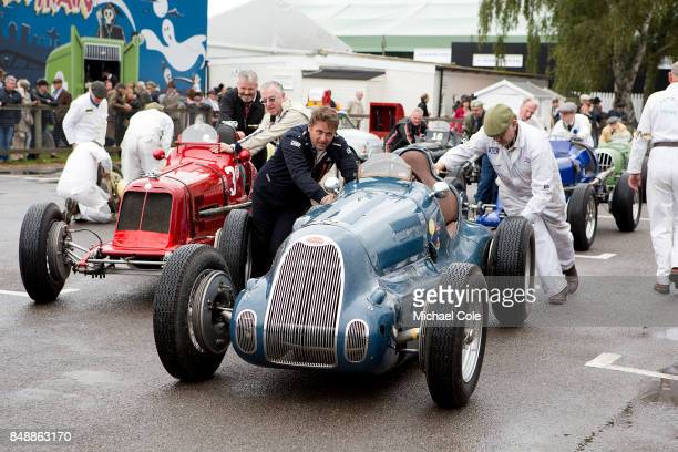 Vintage Bugatti single seater racing car entered in the Goodwood Trophy at Goodwood on September 8th 2017 in Chichester England