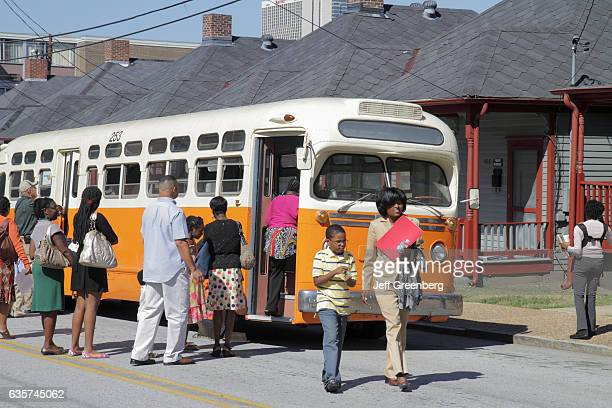 A vintage bus at Martin Luther King Jr National Historic Site neighborhood