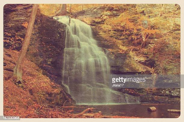 vintage bushkill falls, pa postcard - postcard stock pictures, royalty-free photos & images