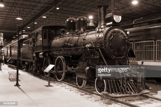 Vintage B&W Passenger Train and Station