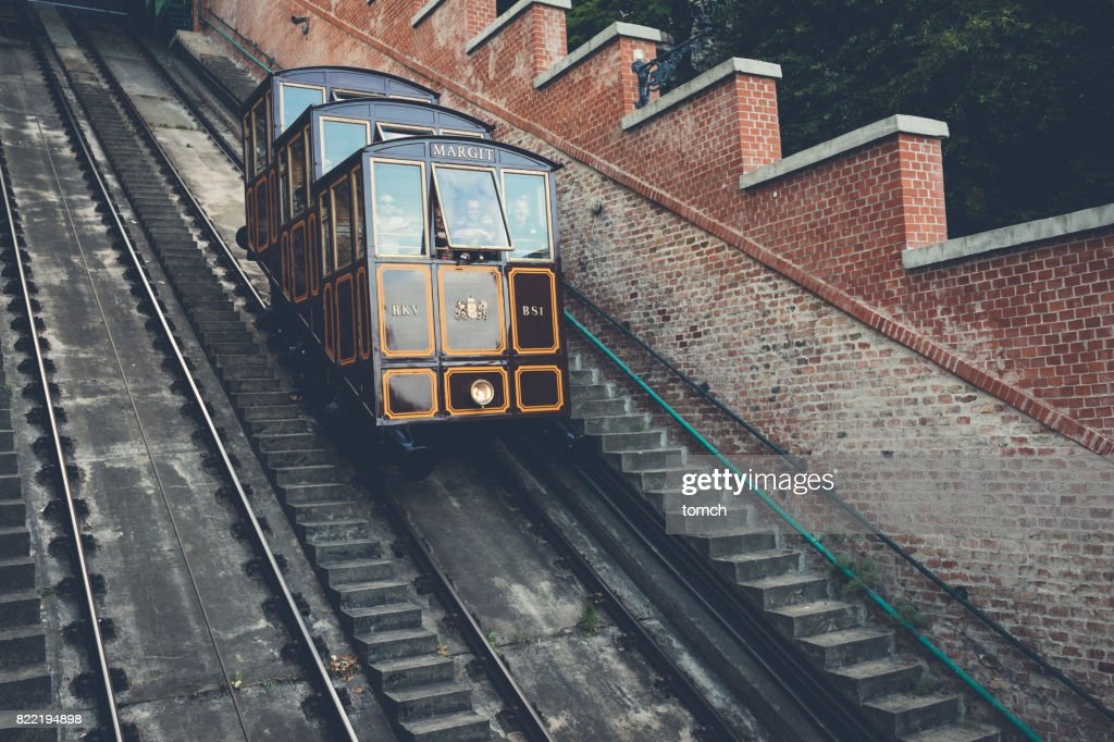 Vintage cable car in Budapest, Hungary. : Stock Photo