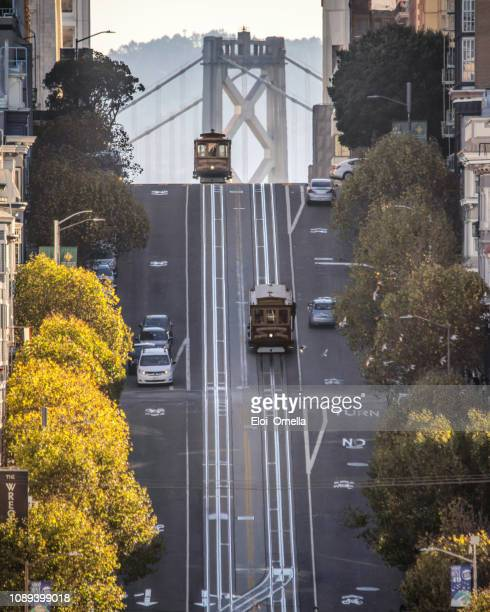 vintage cable car in california street. san francisco, california. usa - san francisco california stock photos and pictures