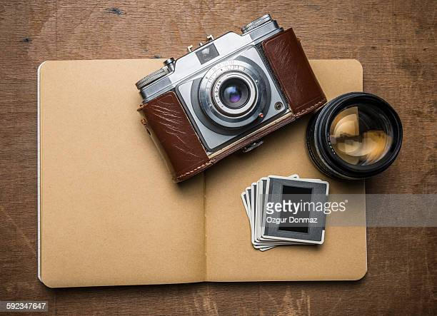 Vintage Camera and Notepad