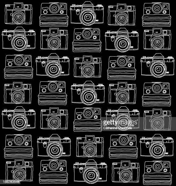 vintage camera doodle - catherine macbride stock pictures, royalty-free photos & images