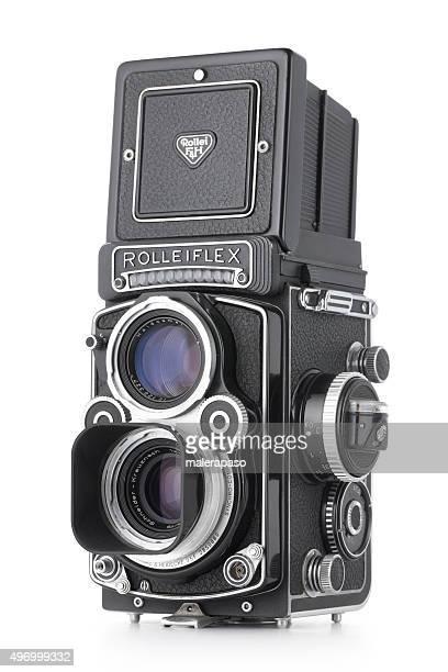 vintage camera. rolleiflex, medium format 6x6 cm. - photographic film camera stock photos and pictures