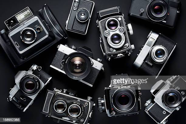 vintage cameras - collection stock pictures, royalty-free photos & images