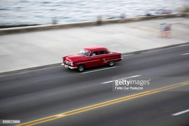 Vintage car at street of Havana of Cuba