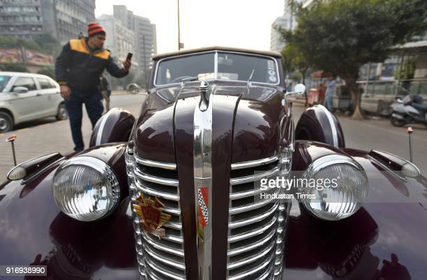 A vintage car displayed at the 52nd edition of 'The Statesman Vintage and Classic Car Rally' near the Statesmen Building on February 11 2018 in New...