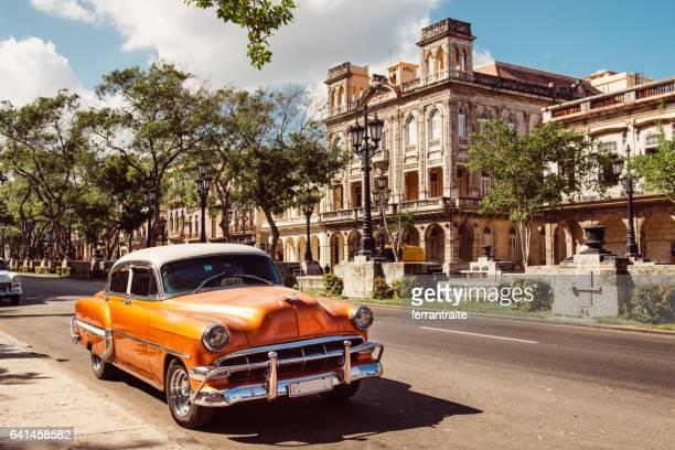 vintage car in old havana cuba - prado stock pictures, royalty-free photos & images