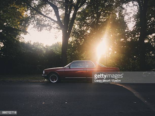 Vintage Car Parked On Road By Tree