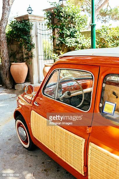 Vintage car parked on street