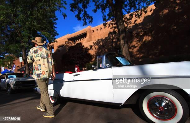 Vintage Car Show, White Chevy Convertible, Santa Fe, NM