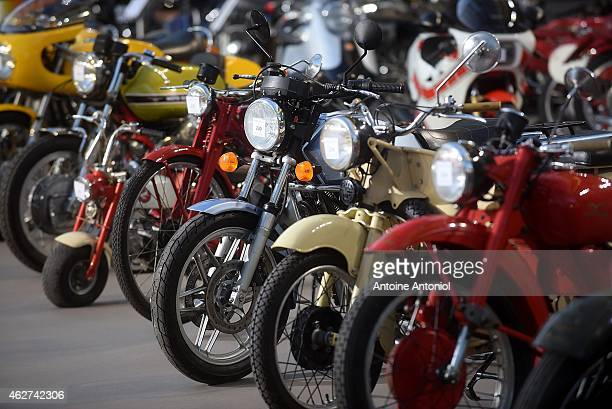 Vintage cars and motorbikes are displayed during an exhibition, by Bonhams auction house, at Le Grand Palais on February 4, 2015 in Paris, France.