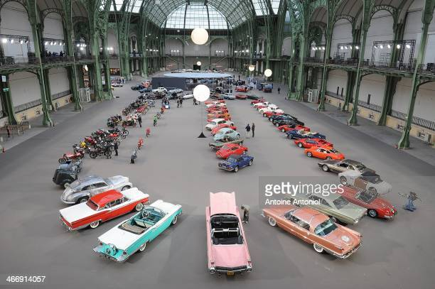 Vintage cars and motorbikes are displayed during an exhibition by Bonhams auction house at Le Grand Palais on February 5 2014 in Paris France