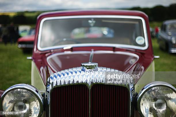 Vintage cars are displayed at the annual Duncombe Park Steam Fair on July 3 2016 in Helmsley England Held in the picturesque grounds of Duncombe Park...
