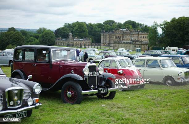 Vintage cars are displayed during the Duncombe Park Steam Rally on July 1 2017 in Helmsley United Kingdom Held annually in the picturesque...