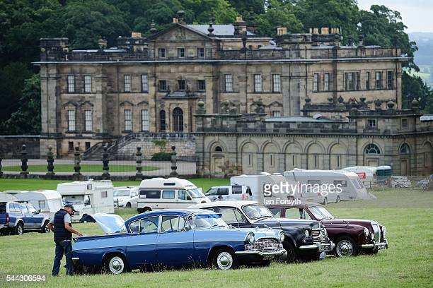 Vintage cars are lined up on display during the annual Duncombe Park Steam Fair on July 3 2016 in Helmsley England Held in the picturesque grounds of...