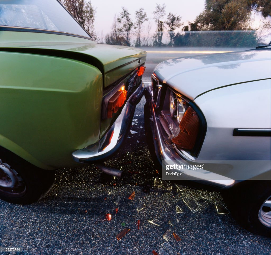 Vintage Cars Crash In The Middle Of Traffic Stock Photo   Getty Images