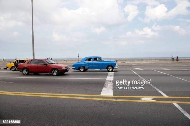 Vintage cars on the street Malcon of Havana, Cuba