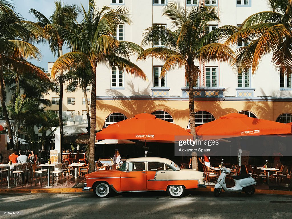 Vintage Cars Parked On Ocean Drive Miami Beach Florida Usa Stock ...