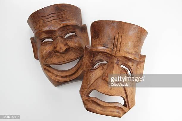 Bois Vintage masques de théâtre comédie et tragédie sur fond blanc