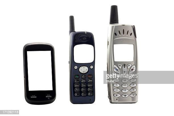 vintage-Handys, Freisteller auf weißem Hintergrund