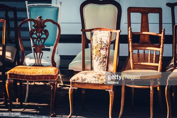 vintage chairs - flea market stock pictures, royalty-free photos & images