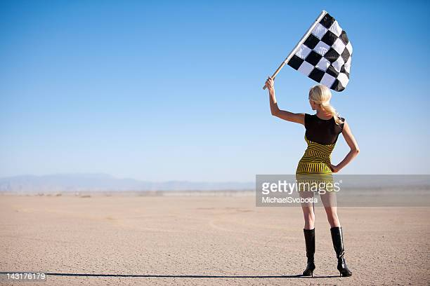 Vintage Checkered Flag Girl