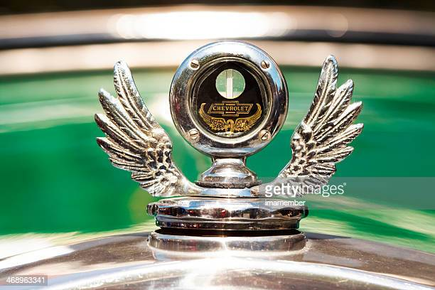 vintage chevrolet hood ornament - hood ornament stock pictures, royalty-free photos & images