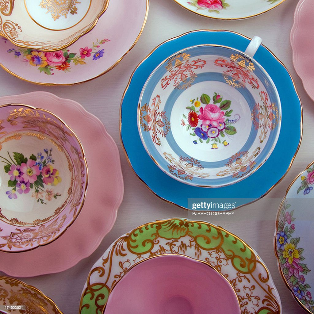 Vintage China Cups And Saucers High-Res Stock Photo ...