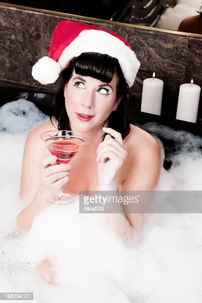 Noël Vintage: sexy pin-up girl faire un vœu