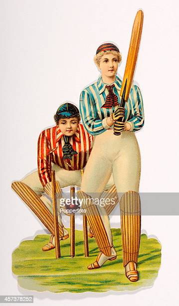 A vintage chromolithograph featuring a lady wicketkeeper and batter circa 1890 In Victorian Britain the keeping of scrapbooks was a popular pastime...