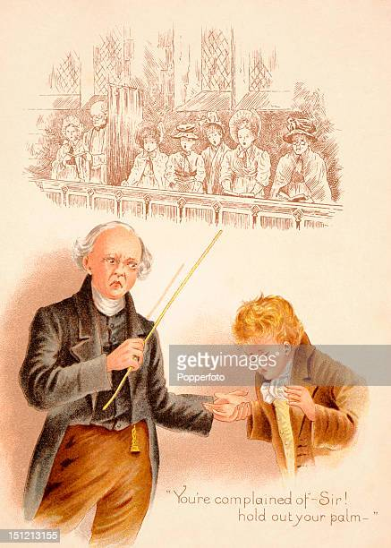 Vintage chromolithograph featuring an illustration of a schoolmaster administering the cane to a schoolboy at a Public School somewhere in England...