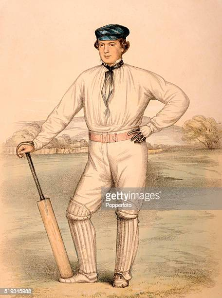 A vintage chromolithograph featuring Surrey and England cricketer Frederick Peel Miller circa 1855