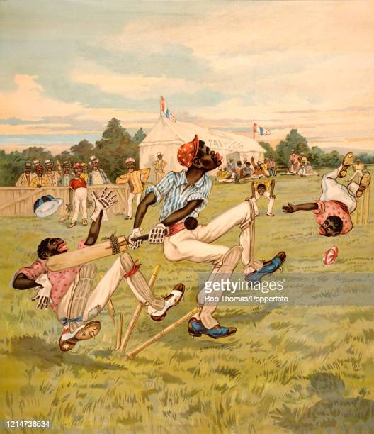 A vintage chromolithograph titled A Black Disgrace featuring chaos on the cricket pitch including black cricketers and spectators published in...