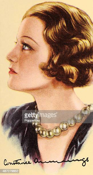 A vintage cigarette card featuring American and British actress Constance Cummings circa 1935