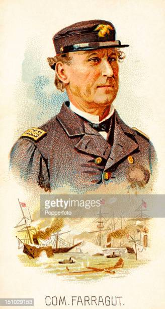 Vintage cigarette card featuring an illustration of Commander David Farragut the United States Navy's first admiral from a series entitled 'Leaders'...
