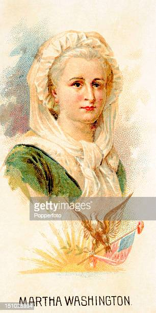 Vintage cigarette card featuring an illustration of Martha Washington from a series entitled Leaders issued in 1889