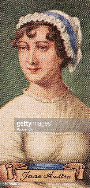 A vintage cigarette card featuring author Jane Austen printed in London circa 1935